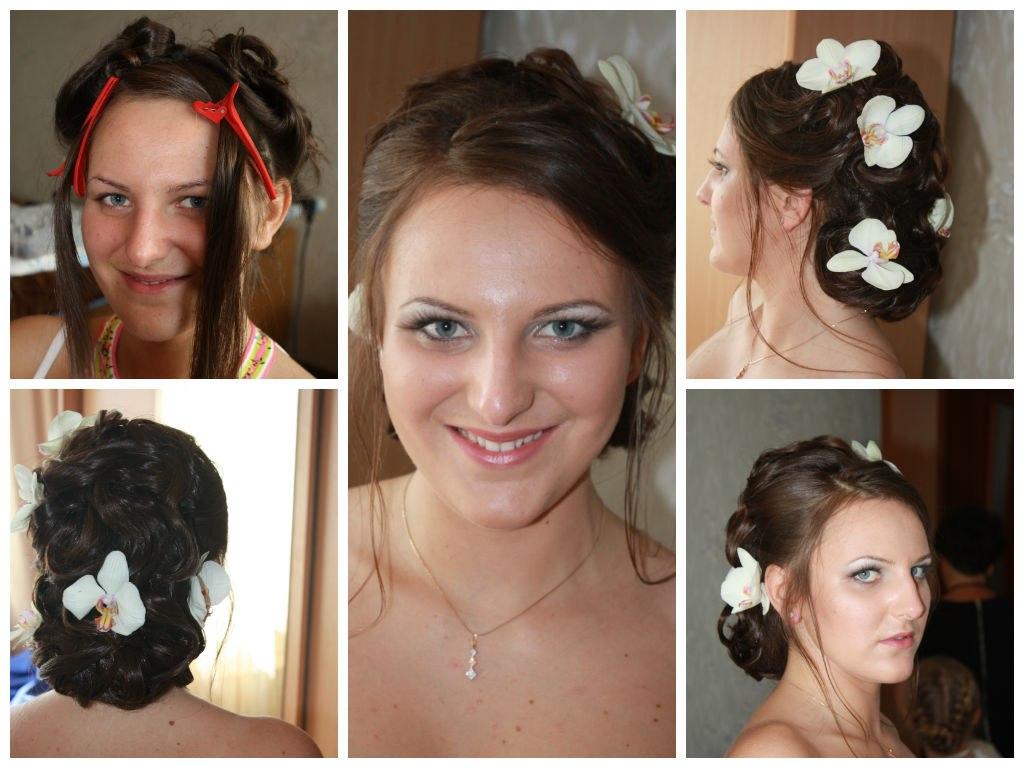 Свадебная прическа на средние волосы. После